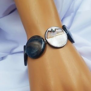 Stretch Cuff Style Bracelet Mother Of Pearl